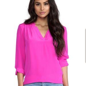 Express Fuschia Pink Womens Top Roll Tab Sleeve